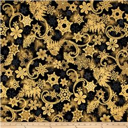 Kaufman Holiday Flourish Metallics Snowflakes Black
