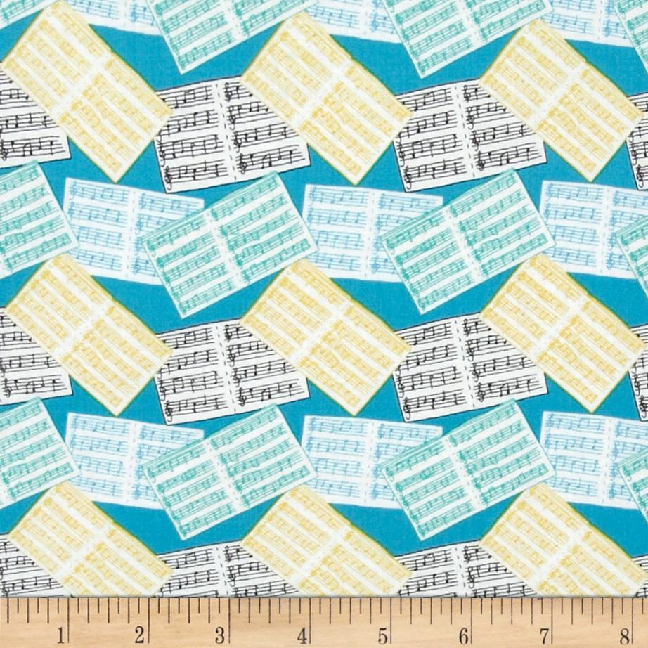 Fabric Freedom A Musical Affair Musical Sheets Turquoise