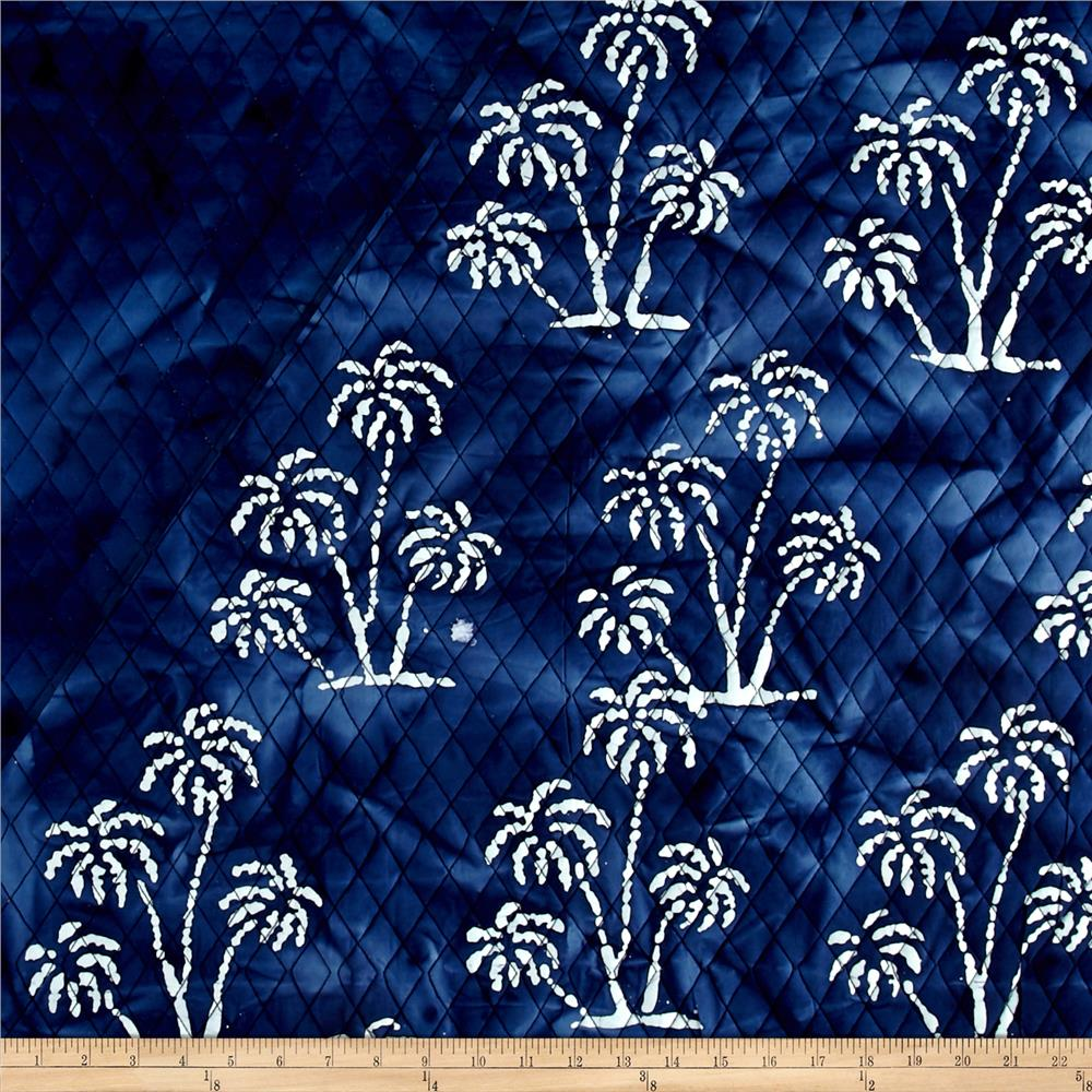 Indian Batik Double Face Quilted Palm Trees White