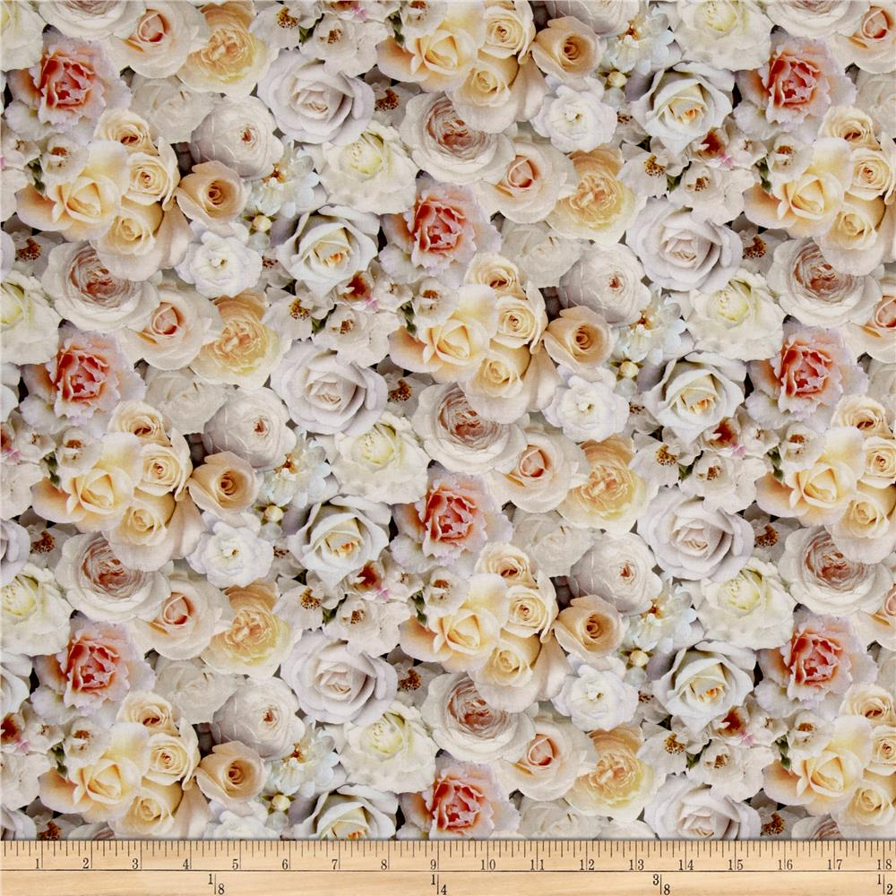 Rose Garden Digital Print Packed Roses White Fabric