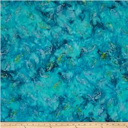 Timeless Treasures Tonga Batik Peacock Floating Leaves Turquoise