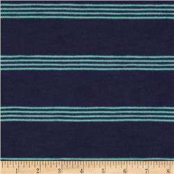 Stretch Yarn Dyed Slub Jersey Knit Stripes Mint/Navy