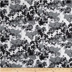 Bloom Stretch Cotton Sateen Abstract Grey/Cream/Black Fabric