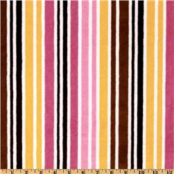 Kaufman Minky Cuddle Candy Stripes Mango/Chocolate