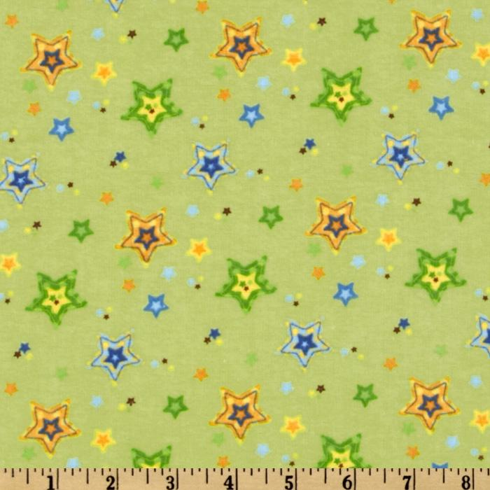 Alpine Sweet Lullaby Flannel Stars Green
