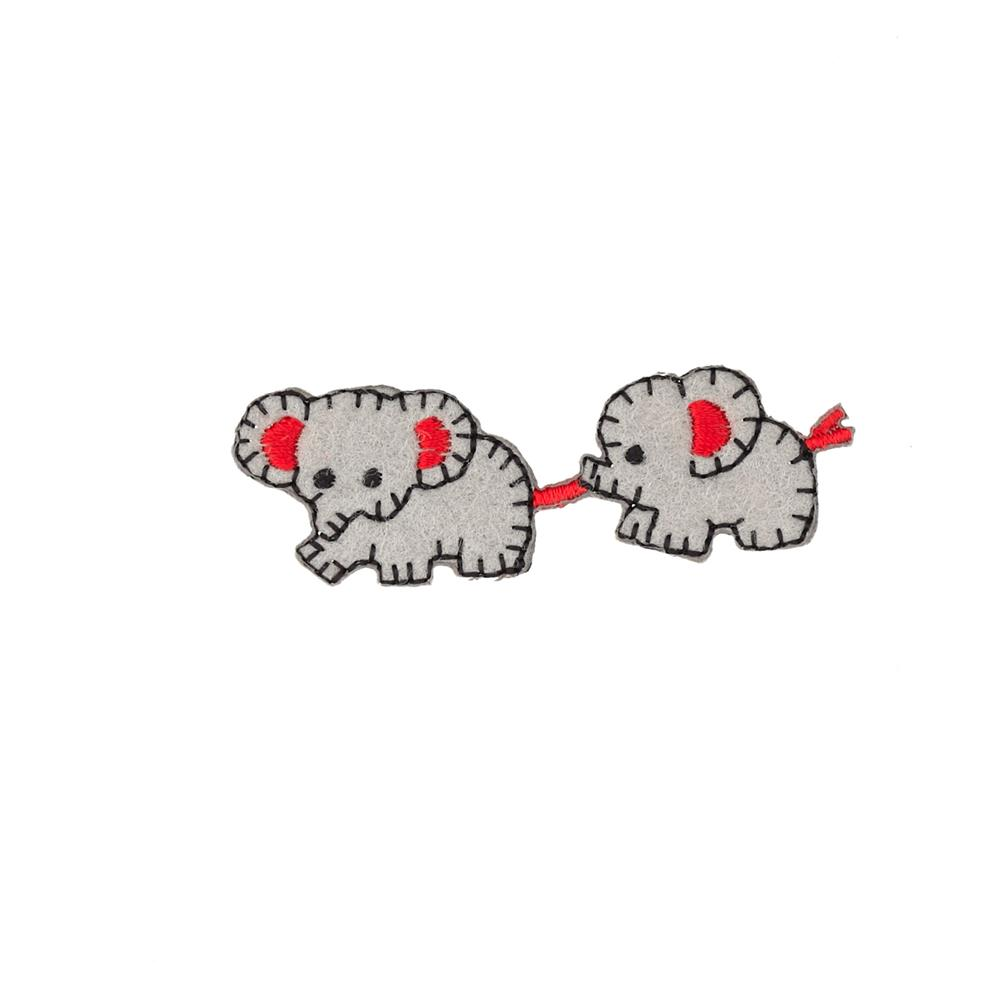 Baby Elephants Applique Grey