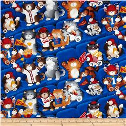 Timeless Treasures Sports Fan Cats Blue