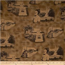Gettysburg Generals And Cannons Brown Fabric