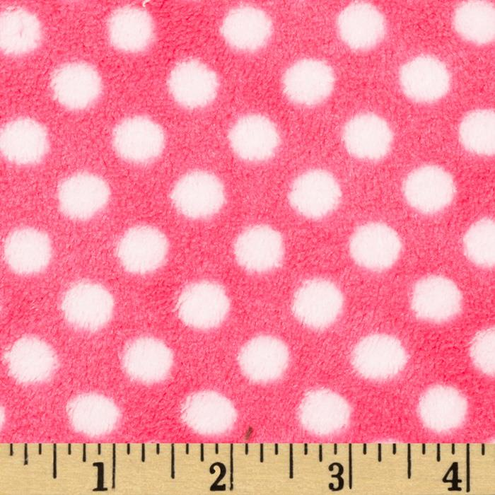 Fleece Polka Dot Fuschia/Rose Fabric By The Yard