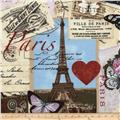 Timeless Treasures Canvas Paris Collage Antique