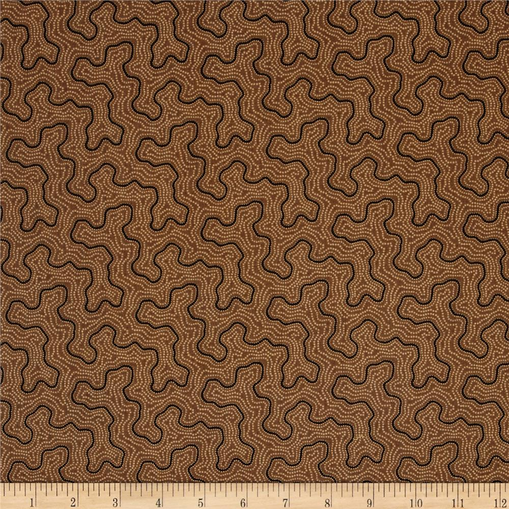 Moda Collection for a Cause Mill Book Maze Walnut Brown