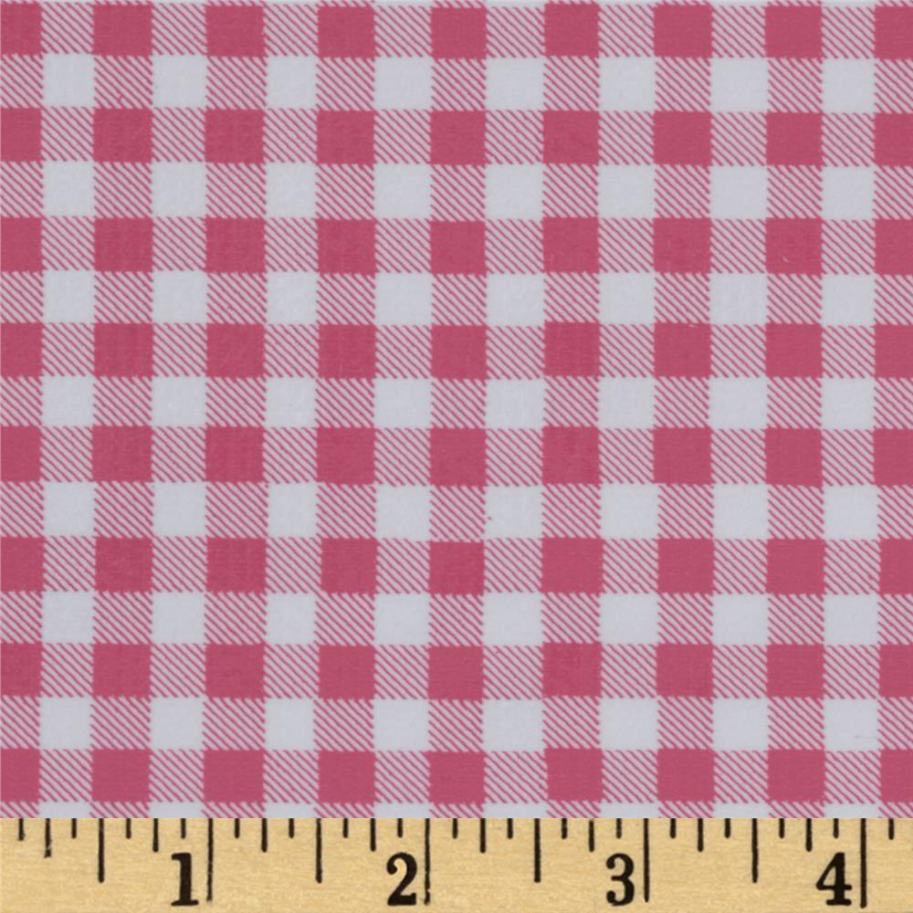 Oil Cloth Gingham Powder Pink