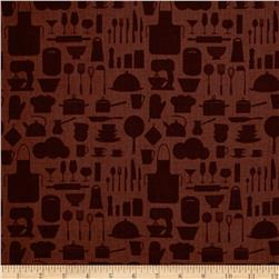 In The Kitchen Kitchenware Silhouette Brown
