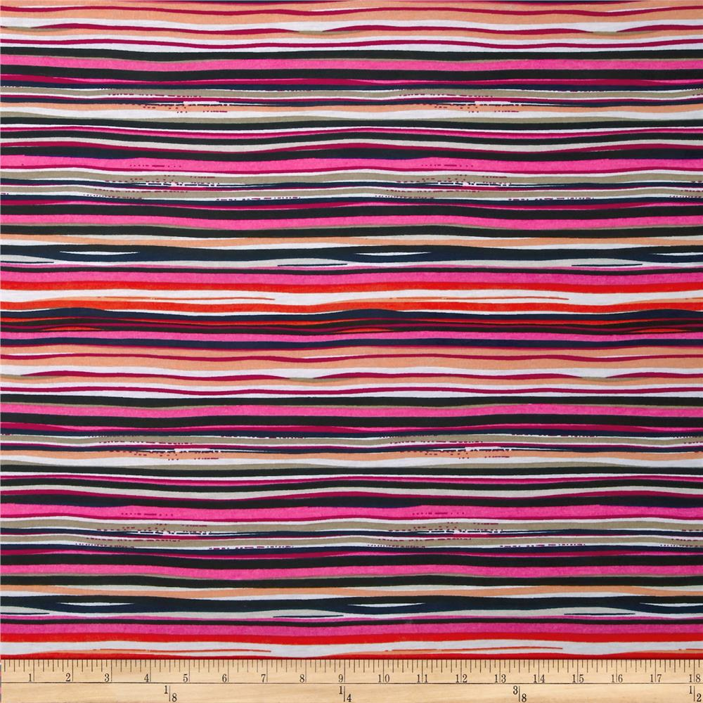 Stretch Jersey Knit Spendid Stripe Hot Pink Multi