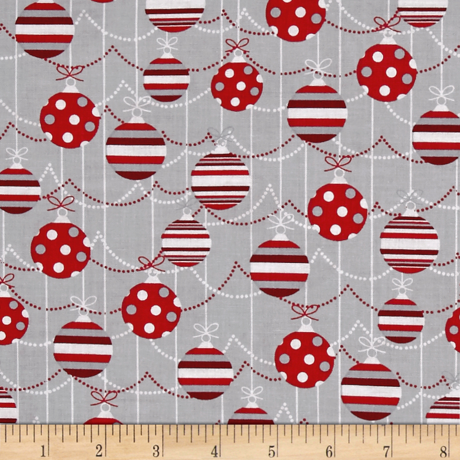 Alpine Ornaments Gray Fabric by MM Fab in USA