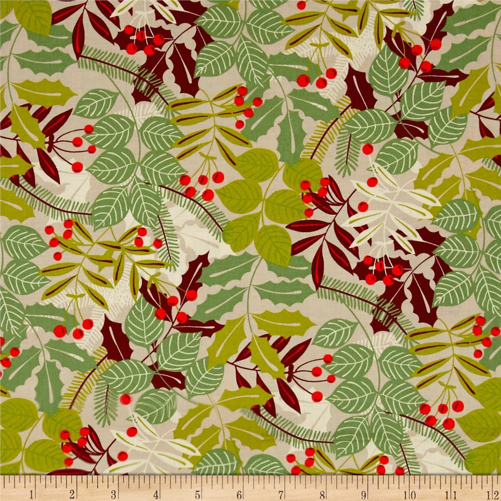 Alexander Henry Christmas Time Pine Berry Taupe