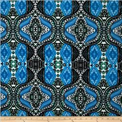 Stretch ITY Jersey Knit New Quatrefoil Black/Turquoise