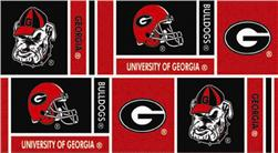 Collegiate Cotton Broadcloth University of Georgia Squares Black/Red