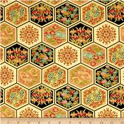 Asian Fanfare Hexagons Gold