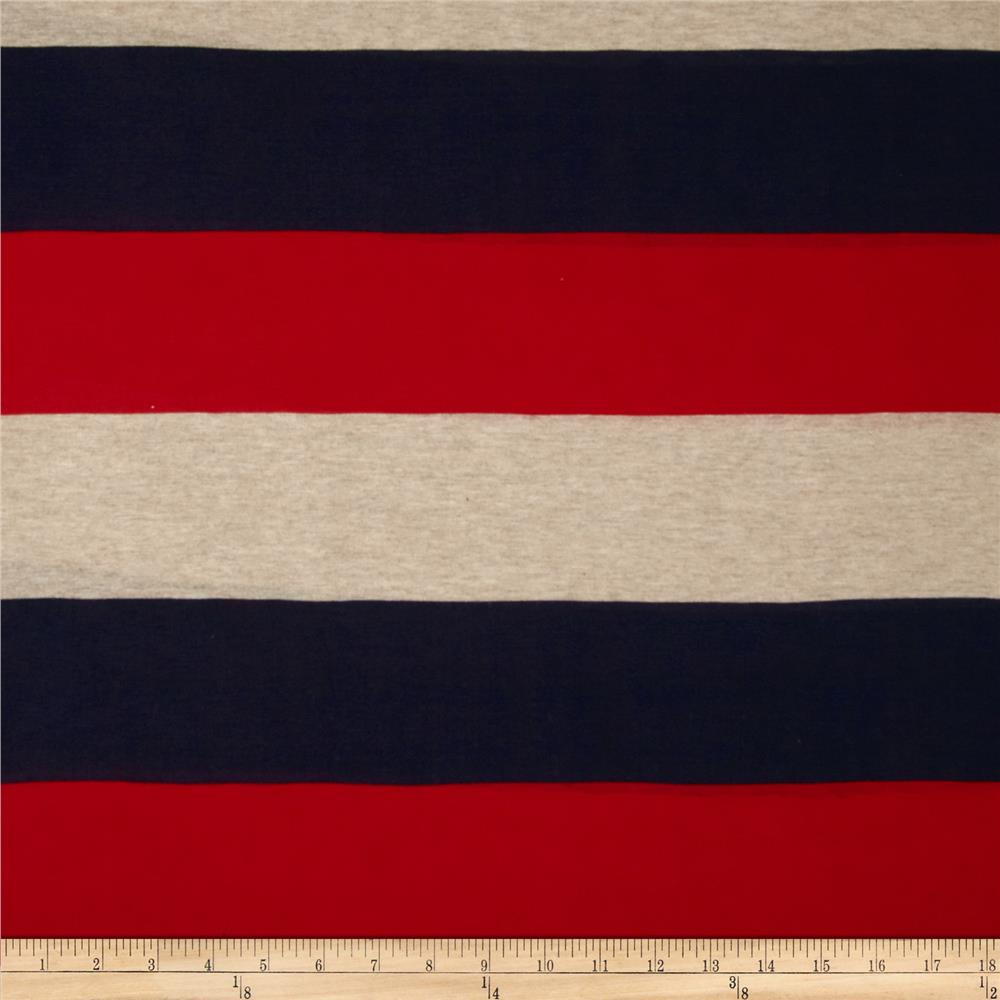 Designer Yarn Dyed Jersey Knit Stripes Creme/Navy/Red