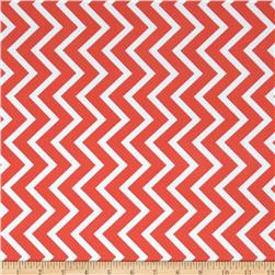 Spandex ITY Jersey Knit Chevron Salmon/Cream