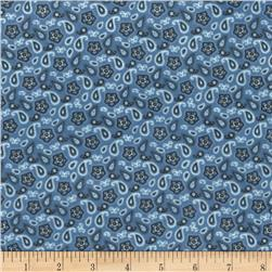 Michael Miller Minky Lil' Cowpokes Bandana Ditsy Blue