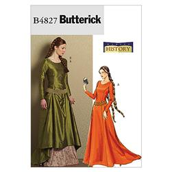 Butterick Misses' Medieval Dress and Belt Pattern B4827 Size AA0