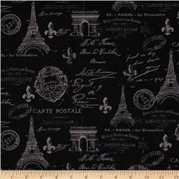 From Paris with Love Carte Postale Allover Black