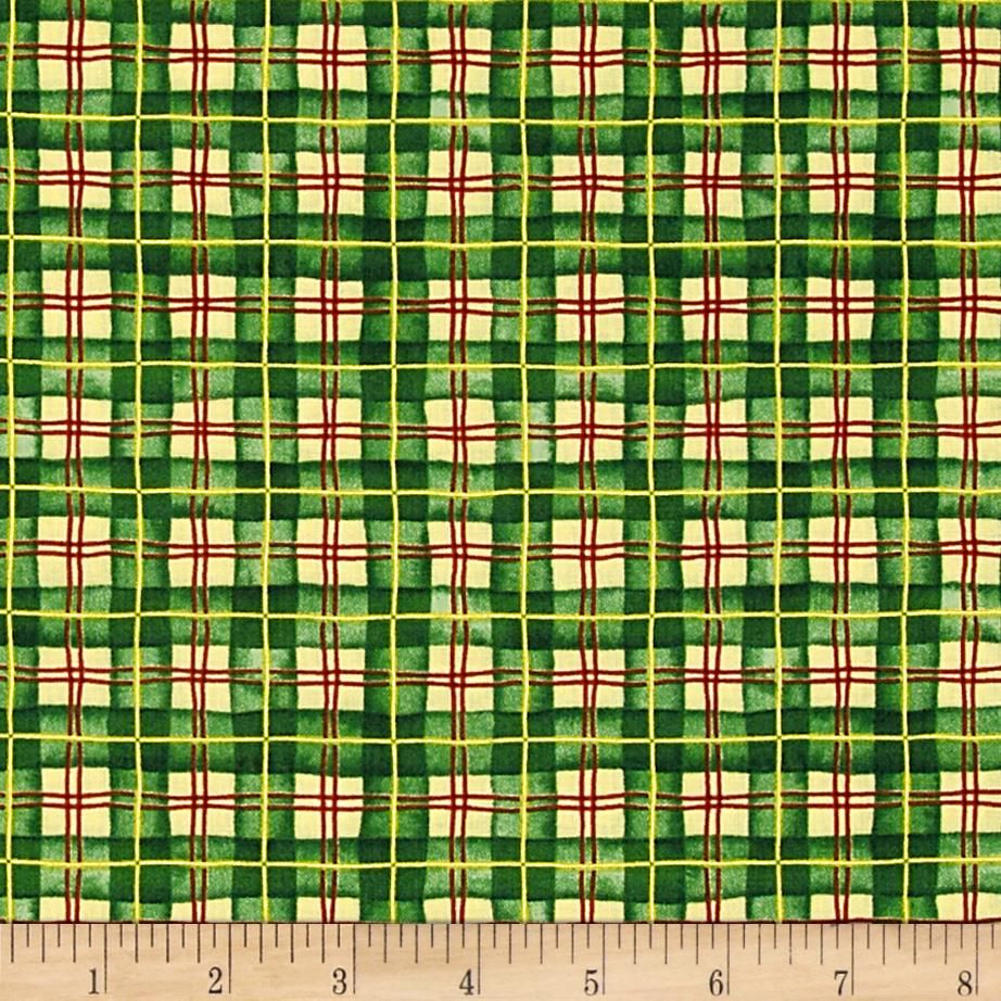 Santa's Journey Plaid Metallic Green
