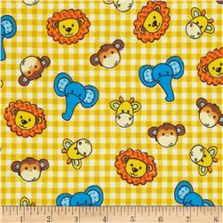 Flannel Novelties Tossed Baby Jungle Animals Yellow