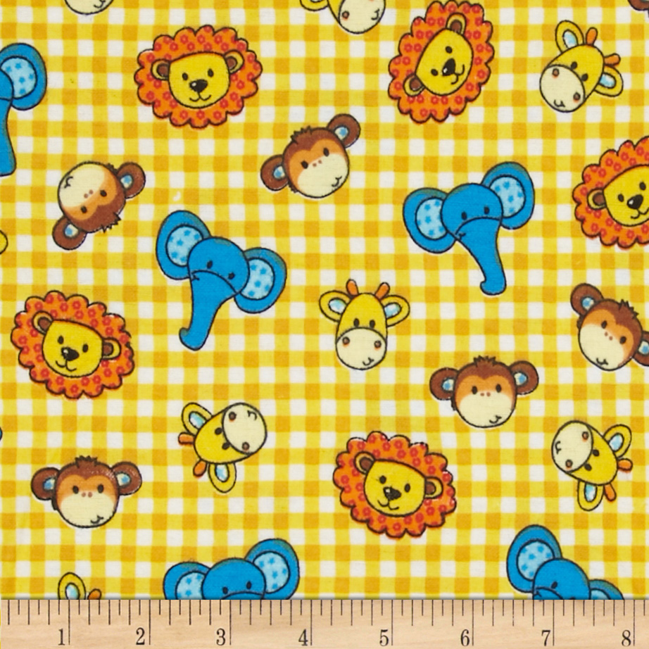 Flannel tossed trucks yellow discount designer fabric for Yellow baby fabric