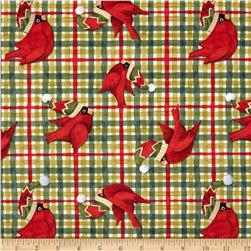 Christmas Plaid & Cardinals Green