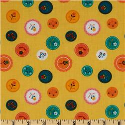 Little Kukla Floral Buttons Retro Yellow