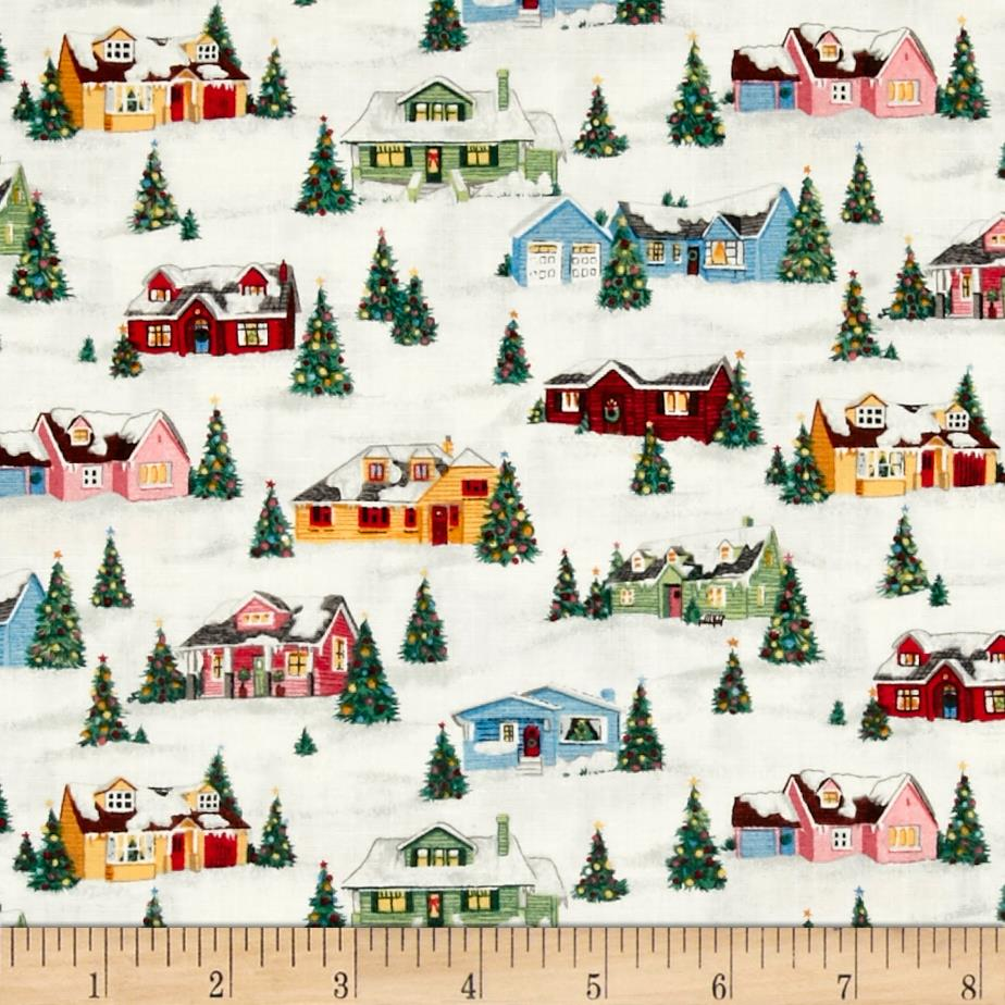 Retro Christmas Village White Multi