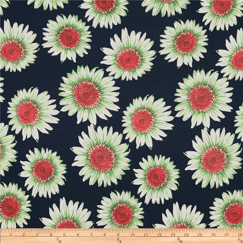 Designer Stretch Jersey Knit Daisies Navy
