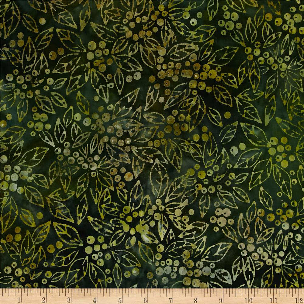Kaufman Northwood Batiks Medium Leaves Pine