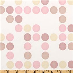 Flannel Backed Vinyl Polka Dot Pink White