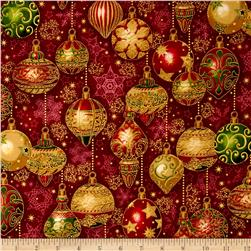 Kaufman Holiday Flourish Metallics Ornaments Crimson
