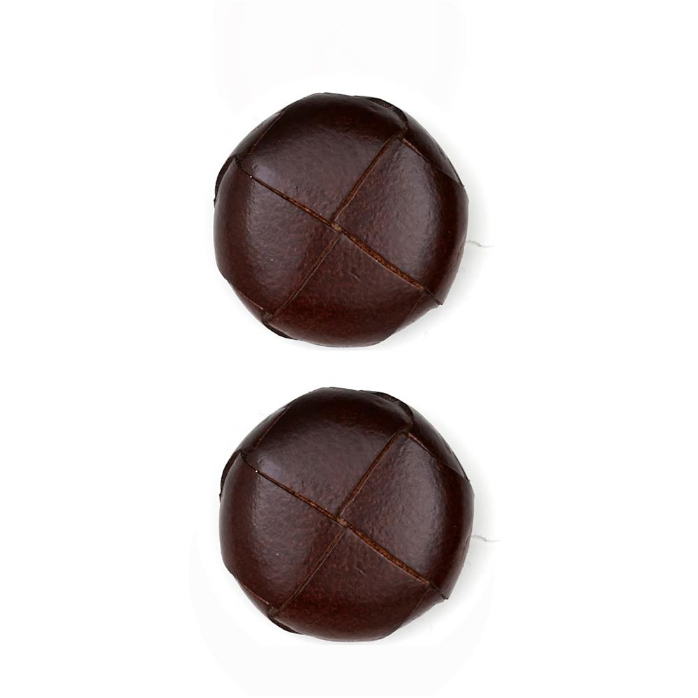 Dill Buttons 1'' Genuine Brown Leather Button