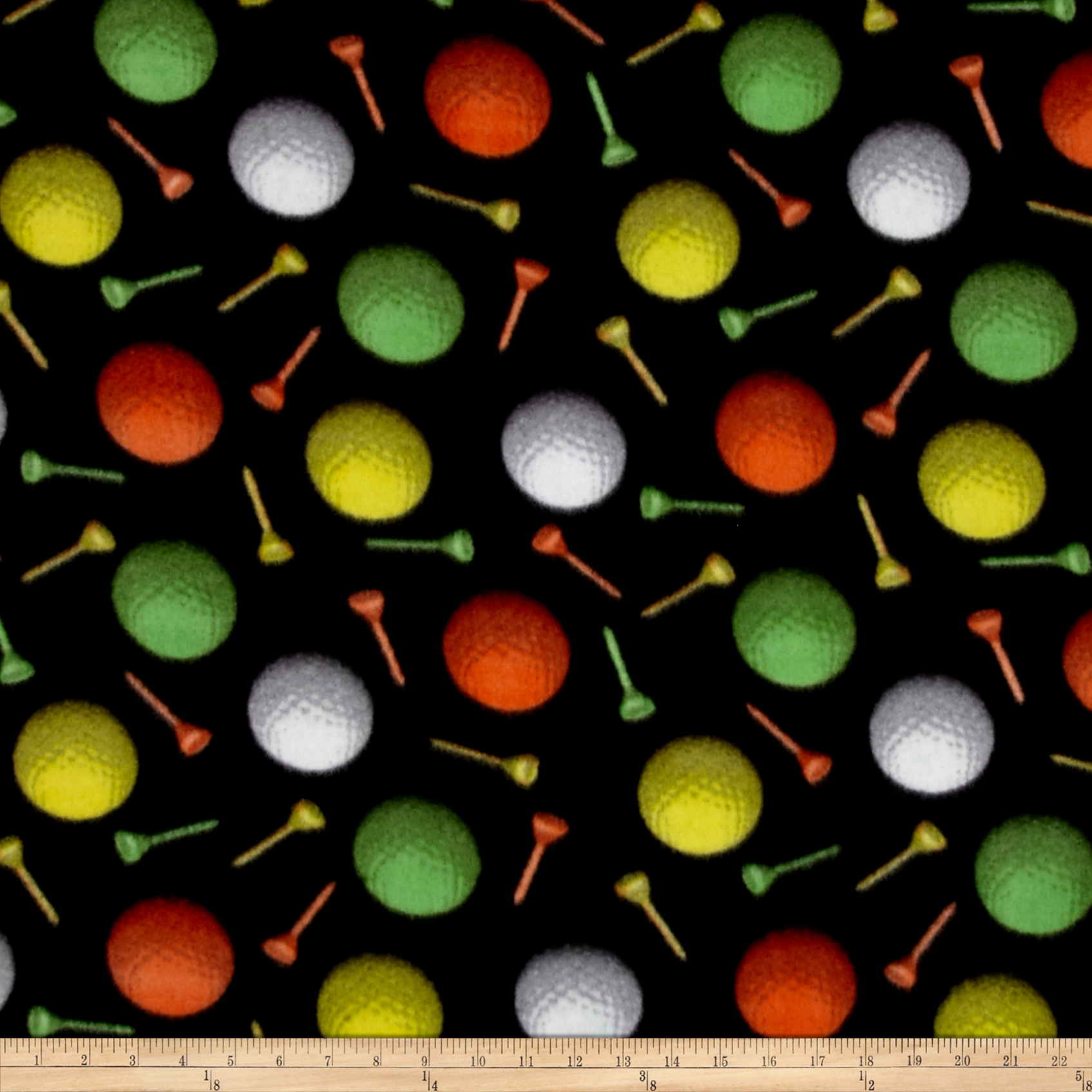 Fleece Prints All Star Sports Golf Ball Party Black Fabric By The Yard 0449027