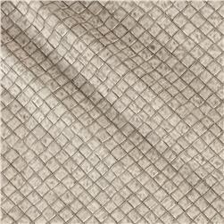 Faux Leather Tile Basketweave Off White