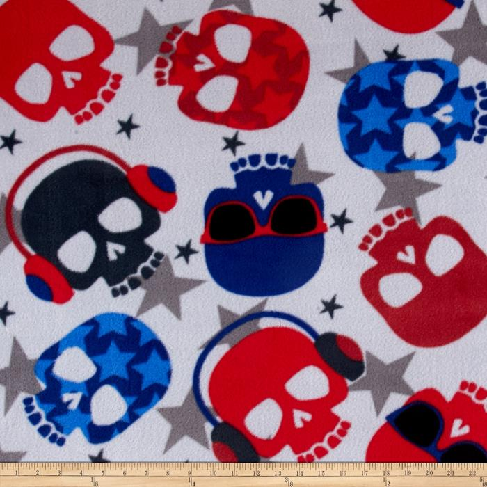 Simply Rock Out Skulls Fleece Silver/Blue Fabric By The Yard