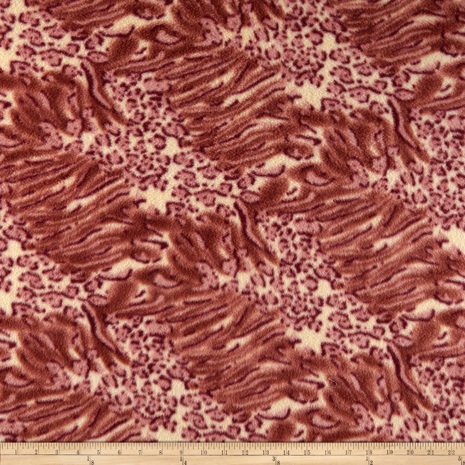 Fleece Animal Skin Print Cream/Red Fabric