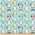 Timeless Treasures Back Fur & Flutter Silly Cats Mint