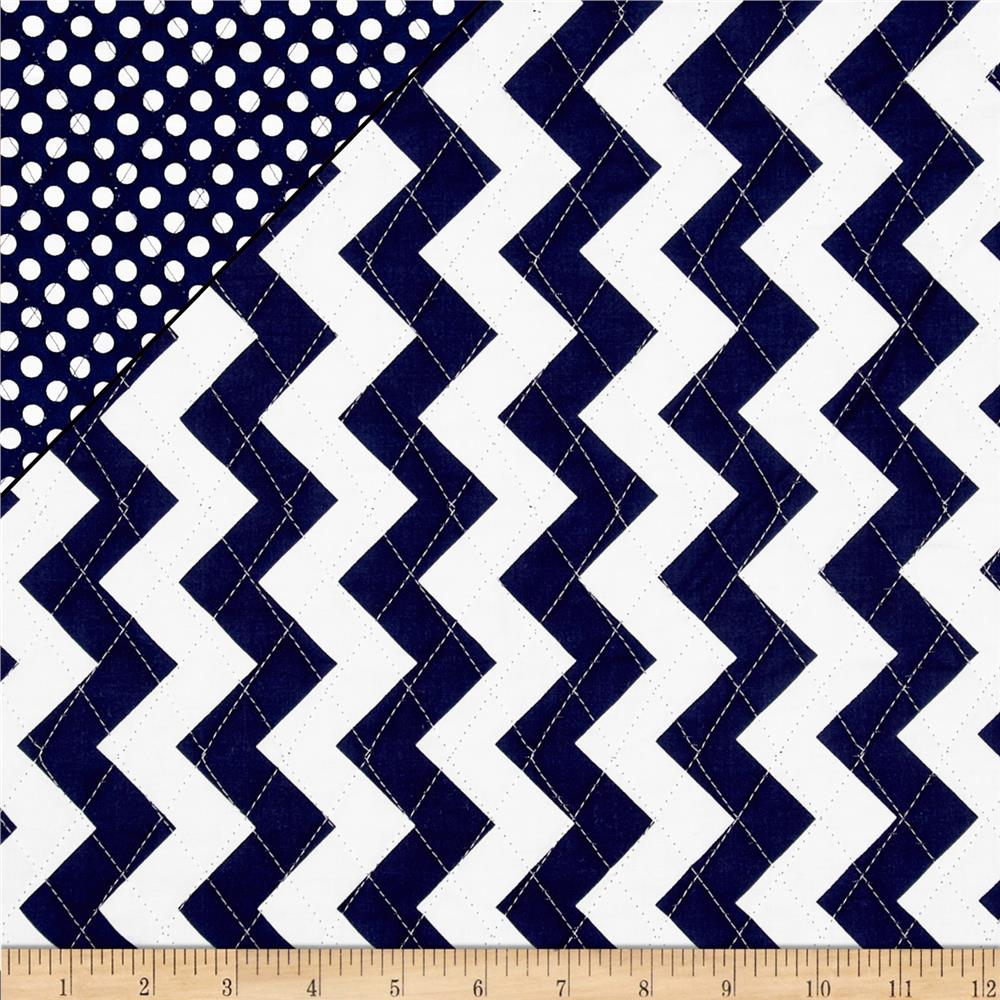 Riley Blake Double Sided Quilted Medium Chevron Navy
