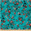 Jersey Knit Floral Teal/Black/Red