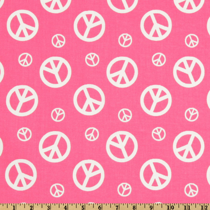 Premier Prints Peace Candy Pink/White Fabric