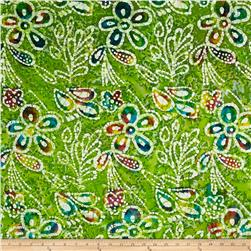 Indian Batik Caledonia Garden Large Floral  Green