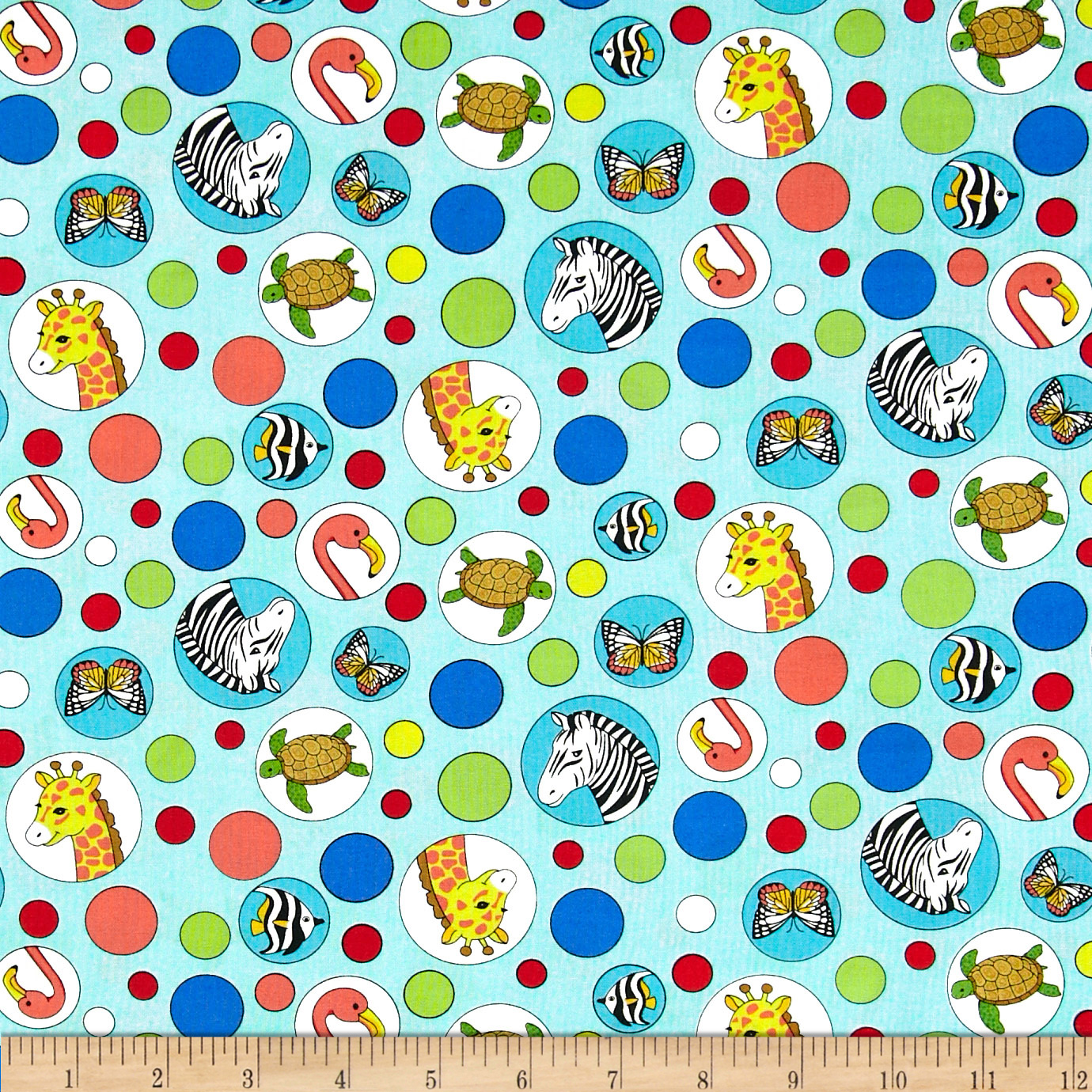 Geniuses Go Wild Animal Bubbles Aqua Fabric