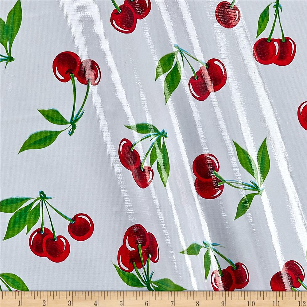 Oilcloth Stella Cherries White Fabric By The Yard